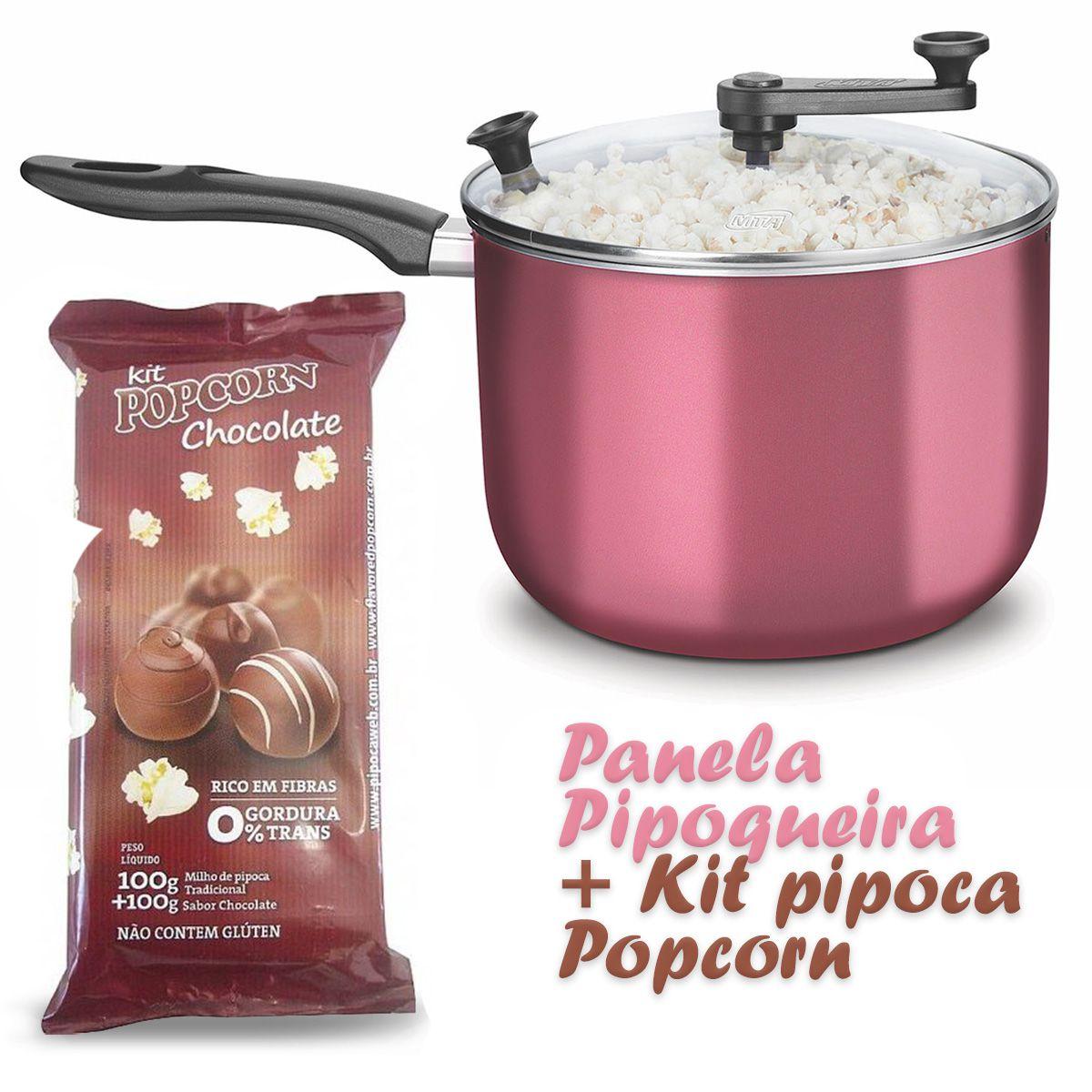 Panela Pipoqueira com Tampa de Vidro + Kit pipoca sabor Chocolate