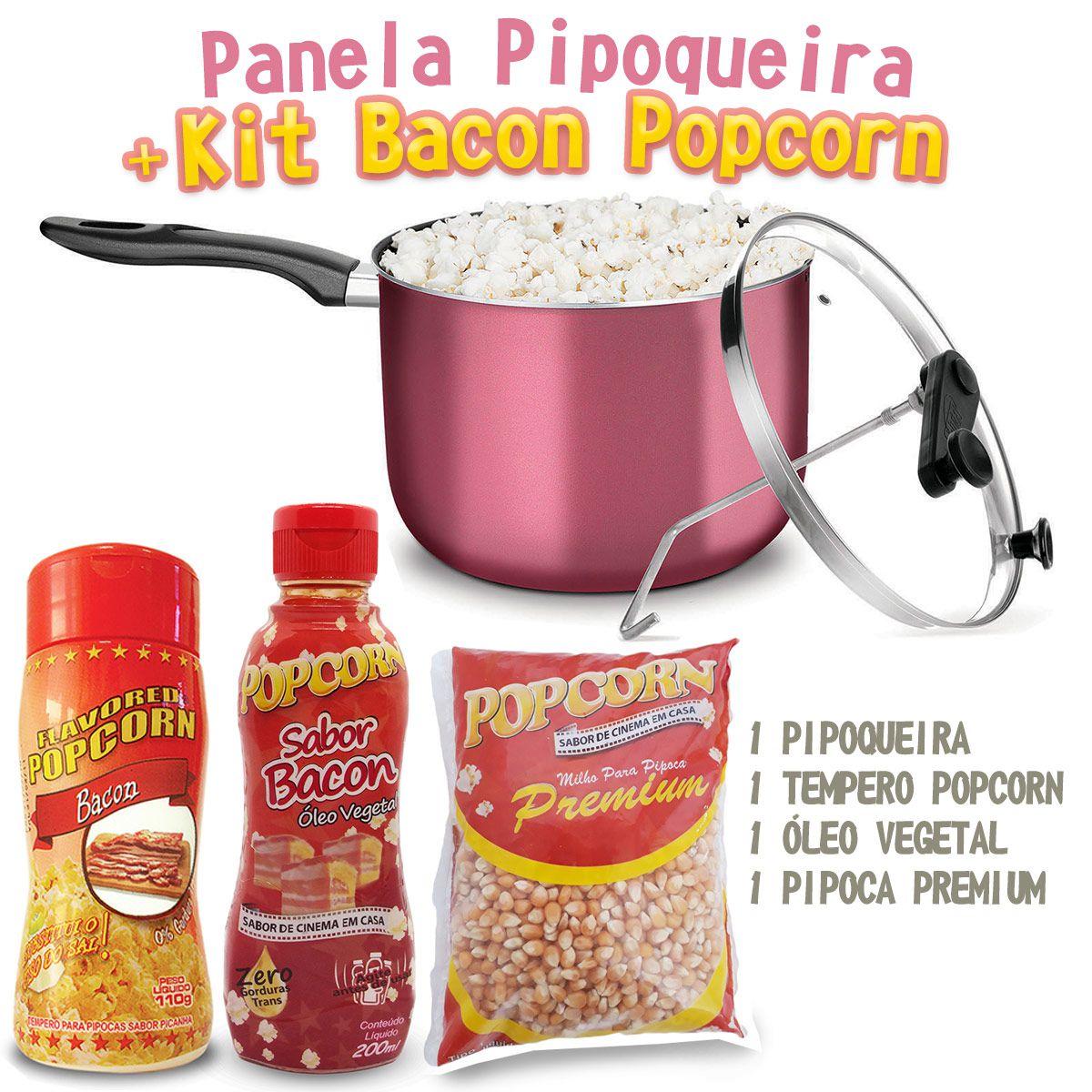 Pipoqueira + Óleo Vegetal sabor Bacon + Tempero Popcorn sabor Bacon + Milho Premium.