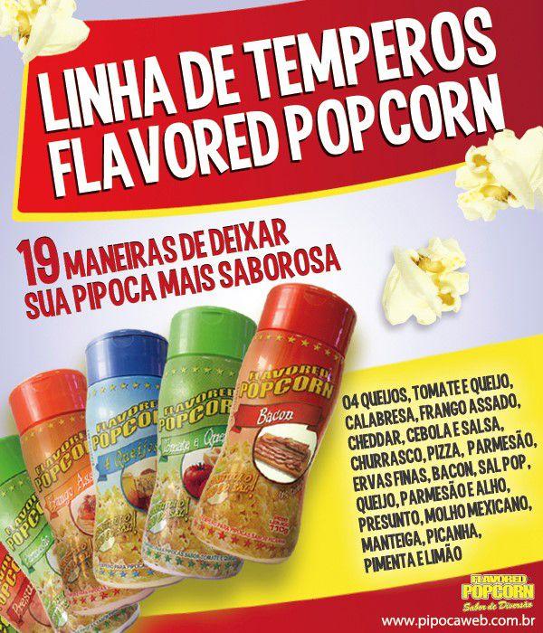 TEMPEROS P/ PIPOCA - CAIXA C/ 24 FRASCOS - 12 MANTEIGA - 12 CALABRESA - Preço unitário de R$ 5,86