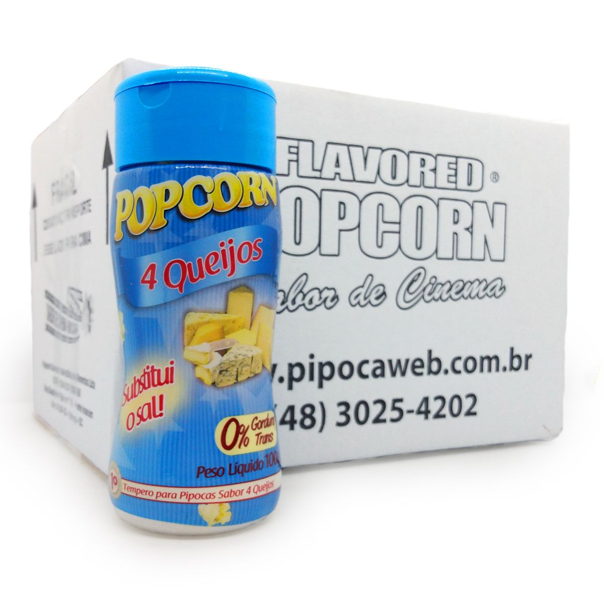 TEMPEROS P/ PIPOCA - SABOR 4 QUEIJOS 100g (12 unidades)