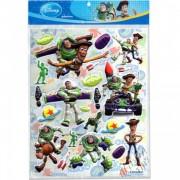 Cartela com 22 Adesivos de Plástico Alto Relevo Toy Story Disney