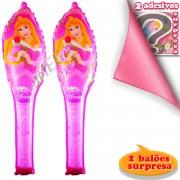 Kit com 2 Bastões Infláveis Aurora Bela Adormecida e 2 Adesivos Surpresa Princesas Disney