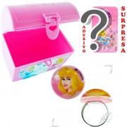 Mini Baú Princesas com Adesivo e Anel Aurora Bela Adormecida Princesas Disney