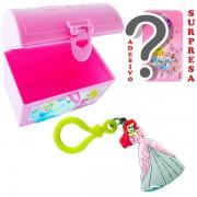 Mini Baú Princesas com Adesivo e Chaveiro Sereia Ariel Princesas Disney
