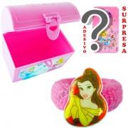 Mini Baú Princesas com Adesivo e Chuquinha Bela Princesas Disney