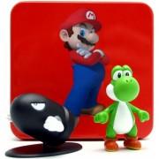 Coleção Caixa de Lata com Miniaturas Yoshi e Bullet Bill Super Mario