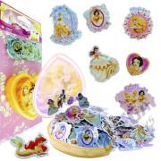 100 Mini Adesivos + Porta Adesivos Princesas Douradas Disney