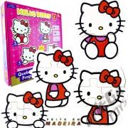 Coleção com 4 Quebra Cabeças de Madeira Progressivo Hello Kitty - Brincadeira de Criança