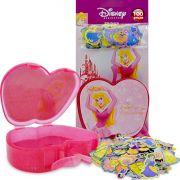 Coleção com 100 Mini Adesivos Princesas Disney mais Porta Adesivos Bela Adormecida