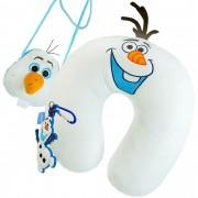Almofada De Pescoço Olaf Frozen + Bolsa Com Alça + Chaveiro