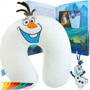 Almofada De Pescoço Olaf Frozen + Livro+ Chaveiro + 12 Gizes