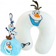 Almofada De Pescoço Olaf Frozen + Porta Moedas + Chaveiro
