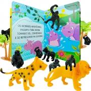Animais De Plástico Safári Leão Macaco Onça 12 Itens + Livro