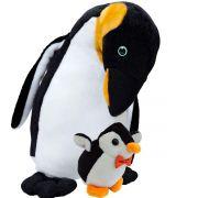 Bicho de Pelúcia Pinguim com Filhote Importada