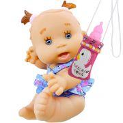 Boneca Bebê Faz Xixi com acessórios e Bolsinha de Mamadeira