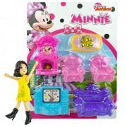 Boneca Com Acessórios Mais Kit 6 Mini Móveis Minnie Disney