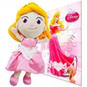 Boneca De Pelúcia Aurora Princesas Disney Mais Quebra-cabeça