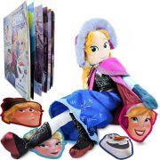 Boneca De Pelúcia Frozen Anna Mais Livro De Máscaras Disney