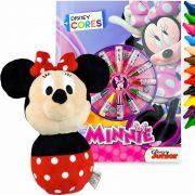 Boneca De Pelúcia Minnie + Livro Colorir 12 Gizes Disney Cor