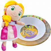 Boneca De Pelúcia Rapunzel Enrolados Mais Tigela Disney