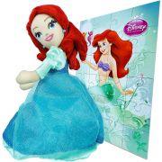 Boneca De Pelúcia Sereia Ariel Mais Quebra Cabeça Disney