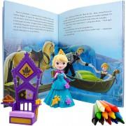 Boneca Frozen Elsa Com Acessórios + Livro + 12 Gizes De Cera