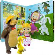 Boneca Masha Boneco Urso E Coelho + Livro Com Quebra-cabeças