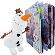 Boneco De Pelúcia Olaf Frozen + Livro Com 4 Máscaras Disney