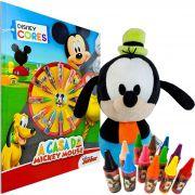 Boneco De Pelúcia Pateta + livro Colorir 12 Gizes Disney Cores