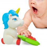 Brinquedo De Vinil Mordedor Para Bebê Unicórnio E Cachorro