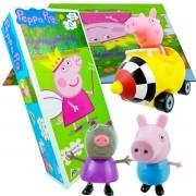Carrinho Peppa Pig + Bonecos George E Molly + Quebra Cabeça