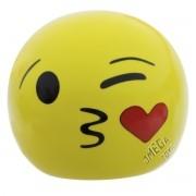 Cofre Decorativo de Porcelana Emoji Beijinho com Amor Emoticons