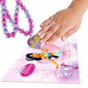 Colar Princesas Com Pingente + Anel Jasmine + Quebra-cabeça