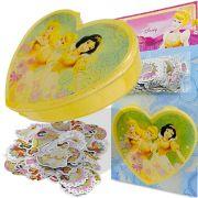 Coleção 100 Mini Adesivos Princesas Douradas Disney mais Porta Adesivos