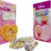 Coleção 200 Adesivos + Porta Adesivos Princesas Douradas