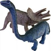 Coleção com 2 Dinossauros Triceratops e Brontossauro Animais Jurássicos