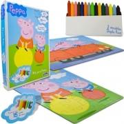 Coleção com 2 Quebra Cabeças de 30 Peças para Pintar Peppa Pig - Toyster