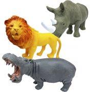Coleção com 3 Animais Selvagens Leão Rinoceronte e Hipopótamo