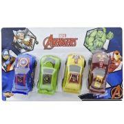 Coleção com 4 Carrinhos a Fricção Vingadores Marvel - Toyng