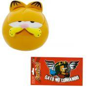 Enfeite Resina Peso De Papel Garfield Sonolento E Adesivo