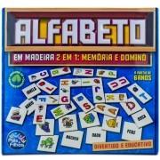 Jogo Dominó e Memória de Madeira Alfabeto - Pais e Filhos