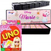 Jogo Uno Barbie + Dominó De Plástico Gatinha Marie Disney