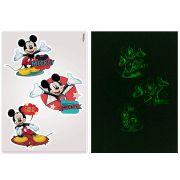 Kit C/10 Cartelas Adesivo Parede que brilha no Escuro Mickey Disney