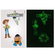 Kit 10 Cartelas Adesivos de Parede Brilha no Escuro Toy Story Disney