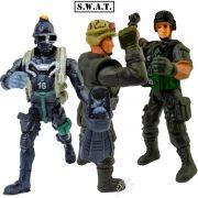 Kit C/3 Bonecos Swat Policial Soldado Tático Figura De Ação