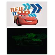 Kit Carros 10 Cartelas Adesivos de Parede Brilha no Escuro Carros Disney