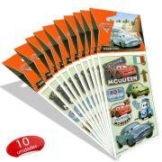 Kit Carros Com 10 Cartelas de Adesivos Carros Disney