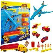 Kit Carros de Bombeiros e Avião Equipe Resgate Mickey