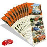 Kit Com 10 Cartelas de Adesivos Carros Disney