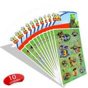 Kit Com 10 Cartelas de Adesivos Toy Story Disney